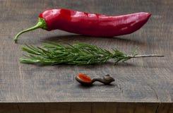 Pimento vermelho fresco, sprig do rosemary, colher de madeira Fotografia de Stock Royalty Free
