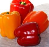 Pimentos amarelos do jardim e alaranjados vermelhos frescos Imagem de Stock
