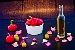 Piments et huile d'olive Images libres de droits