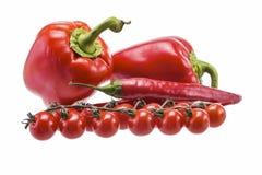 Piments, poivre, tomate Images libres de droits