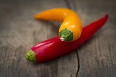 Piments rouges et jaunes Photographie stock