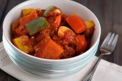 Pimienta con la salsa de tomate Foto de archivo libre de regalías