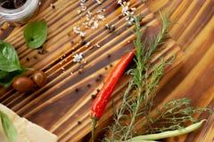 Pimienta de chile, hierbas, sal y grano de pimienta candentes en la tabla de madera Cierre para arriba Composición de la verdura  imagenes de archivo