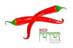 Pimienta de chile rojo aislada en un blanco Imagenes de archivo