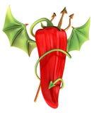 Pimienta de chile rojo diabólica stock de ilustración
