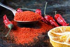 Pimienta de chiles calientes mexicana roja vibrante, entero y puesto a tierra fotografía de archivo libre de regalías