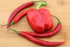 Pimienta de la paprika y de chile clasificada Fotografía de archivo libre de regalías
