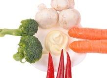 Pimienta del bróculi de los musrooms de la zanahoria Imagen de archivo libre de regalías