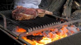 Pimienta del cocinero el filete en el fuego metrajes