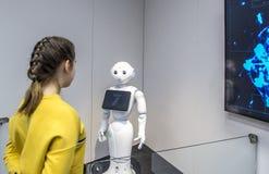 Pimienta del robot del Humanoid exhibida en el museo de la ciencia y de la tecnología Eureka en Helsinki, Finlandia fotografía de archivo libre de regalías