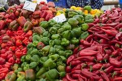 Pimienta dulce en el mercado turco Foto de archivo