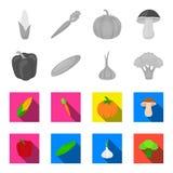 Pimienta dulce roja, pepino verde, ajo, col Las verduras fijaron iconos de la colección en vector monocromático, plano del estilo stock de ilustración