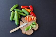 Pimienta hecha en casa fresca del tomate del pepino de las verduras en backgr negro Fotos de archivo