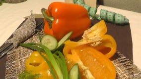 Pimienta, pepino, verdes, lechuga, centímetro, consumición sana almacen de video