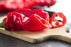 Pimienta roja cortada Foto de archivo libre de regalías