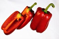 Pimienta roja, cultura vegetal agrícola Las variedades de la pimienta se dividen en dulce y amargo, ampliamente utilizado en coci fotos de archivo libres de regalías