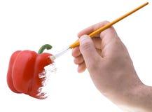 Pimienta roja de pintura Imagen de archivo