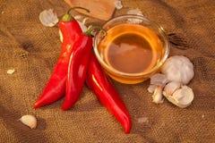 Pimienta roja, miel y ajo Imagen de archivo libre de regalías
