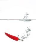 Pimienta roja que salpica en agua Imagen de archivo