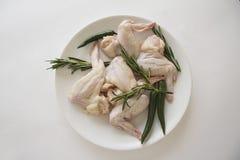 Pimienta verde y romero de pollo del withchili crudo de las alas Imagen de archivo