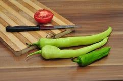 Pimienta verde y tomate Fotografía de archivo