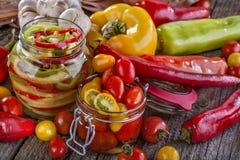 Pimienta y tomate conservados Imágenes de archivo libres de regalías