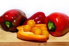Pimienta y tomates Fotos de archivo libres de regalías