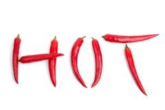 Pimientas calientes de Chile de la palabra Fotos de archivo