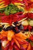 Pimientas coloridas en la visualización Fotos de archivo