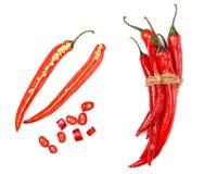 Pimientas de chile rojo Imagen de archivo