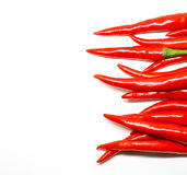 Pimientas de chile rojo en el fondo blanco chile picante fresco aislado Foto de archivo libre de regalías