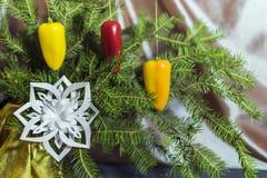 Pimientas de chile rojo en el piel-árbol del ` s del Año Nuevo, copo de nieve imagen de archivo libre de regalías