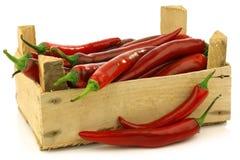 Pimientas de chile rojo frescas en un embalaje de madera Imagenes de archivo
