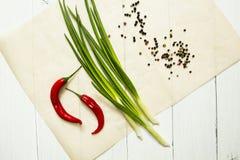 Pimientas de chile rojo frescas y cebollas verdes en un fondo blanco, visión superior fotos de archivo