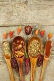 Pimientas de chile secadas en una cuchara de madera Venta de especias Publicidad para la venta Diferentes tipos de pimientos pica Fotos de archivo libres de regalías