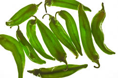 Pimientas de chile verdes de la portilla Imagen de archivo