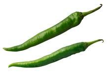 Pimientas de chiles calientes verdes Fotografía de archivo