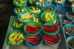 Pimientas de chiles rojos Fotos de archivo