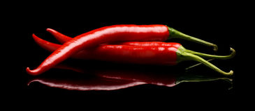 Pimientas de chiles rojos aisladas en fondo negro Foto de archivo