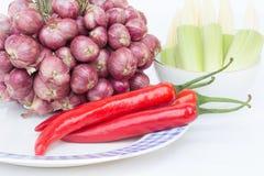 Pimientas de chiles rojos en un fondo blanco Fotos de archivo