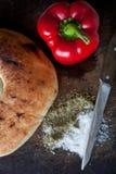Pimientas del tablero de pan Foto de archivo