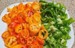 Pimientas dulces cortadas en cuadritos de las verduras fotos de archivo