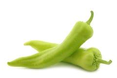 Pimientas dulces verdes frescas (pimientas del plátano) Fotos de archivo libres de regalías