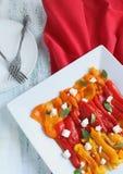 Pimientas dulces y queso Feta de la parrilla Fotos de archivo