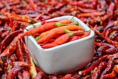 Pimientas frescas en el cuenco blanco y pimientas rojas secadas de calidad inferior Fotos de archivo libres de regalías