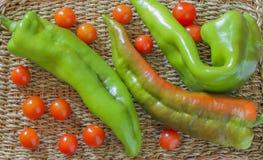 Pimientas largas verdes Imagen de archivo libre de regalías