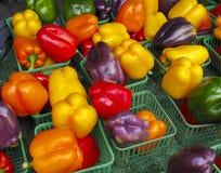 Pimientas multicoloras en el mercado de los granjeros fotos de archivo libres de regalías