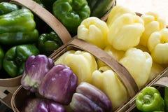 Pimientas púrpuras amarillas verdes dulces en cestas en el mercado de los granjeros Imagenes de archivo