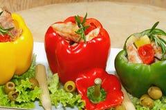 Pimientas, pechuga de pavo rellena, asada a la parrilla, verduras, ensalada Foto de archivo