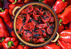 Pimientas rojas asadas Imagen de archivo libre de regalías